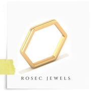 14kt Solid Gold Open Hexagon Ring